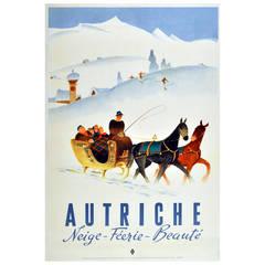 Original vintage poster for Autriche - Austria: Snow, Enchantment, Beauty