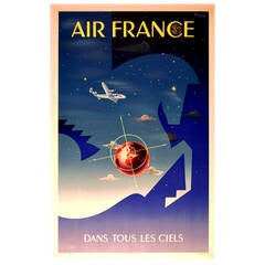 Original vintage Art Deco style advertising poster for Air France