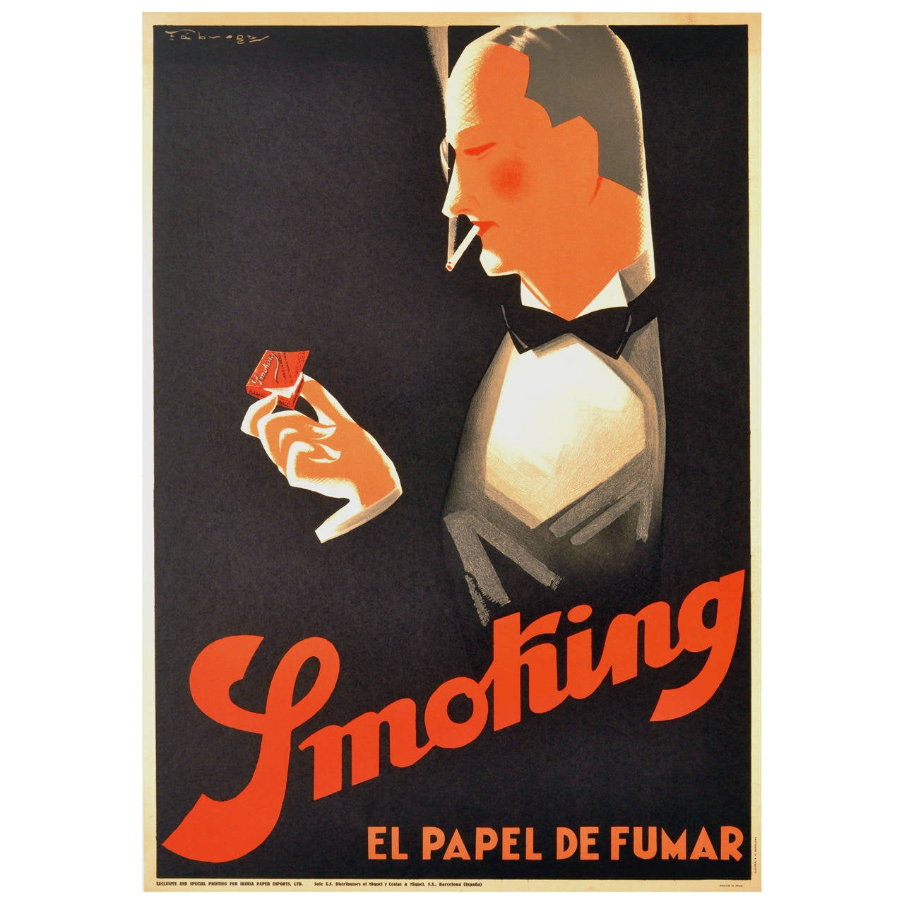 original vintage art deco smoking poster for el papel de fumar 39 cigarette paper 39 at 1stdibs. Black Bedroom Furniture Sets. Home Design Ideas