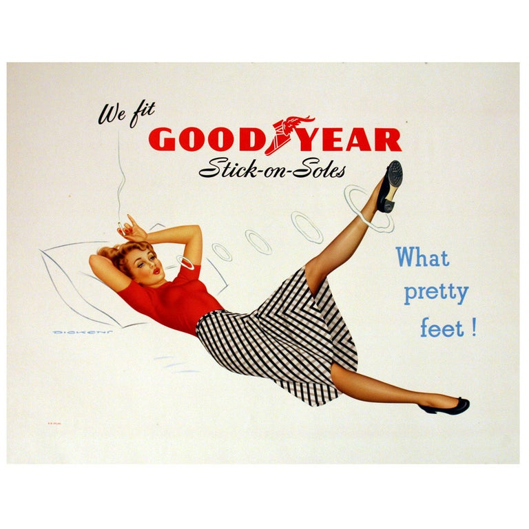Original Vintage Pin Up Style Poster, Goodyear Stick on Soles, What Pretty Feet For Sale