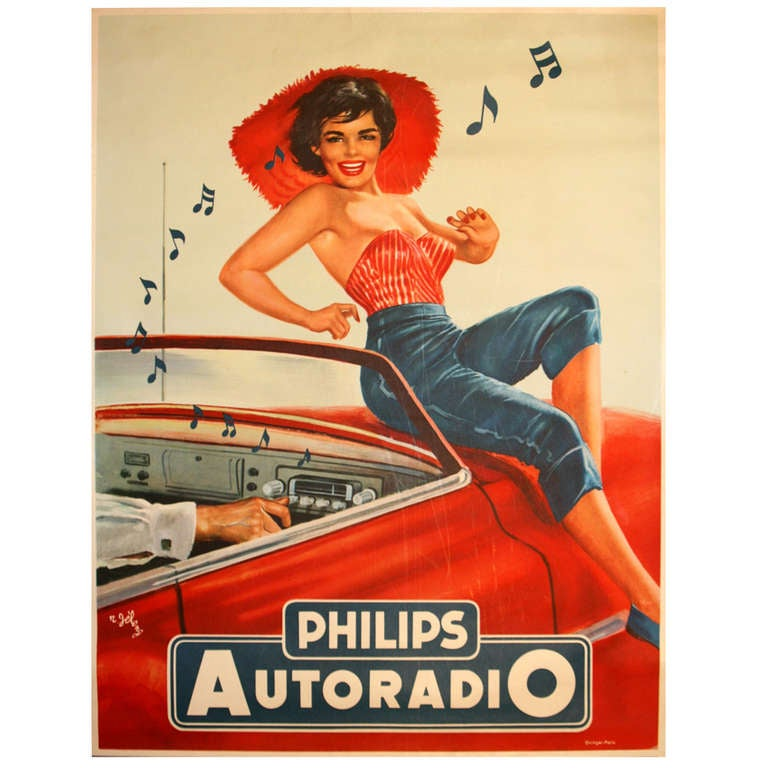 1950s pin up style advertising poster by r jeleng phillips autoradio at 1stdibs. Black Bedroom Furniture Sets. Home Design Ideas