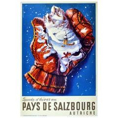 Original Vintage Poster Advertising Skiing and Winter Sports in Salzburg Austria