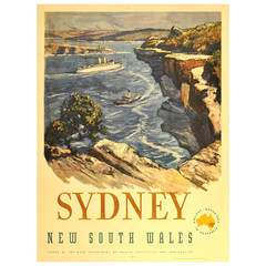 Original Vintage Travel Advertising Poster for Sydney Australia, New South Wales