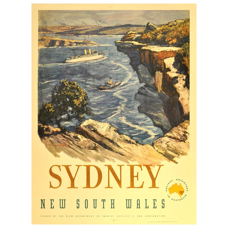 Original Vintage Travel Advertising Poster for Sydney Australia, New South Wales For Sale