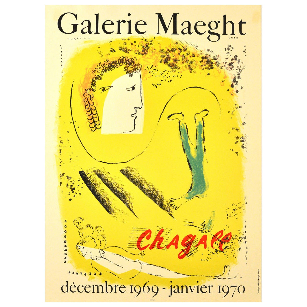Original Vintage Exhibition Poster, 'Chagall at Galerie Maeght-Le Fond Jaune'