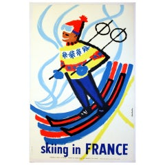 Colorful Midcentury Original Vintage Ski Poster 'Skiing in France'