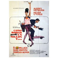 Original vintage movie poster by Robert E. McGinnis: How to Steal a Million (Audrey Hepburn and Peter O'Toole)