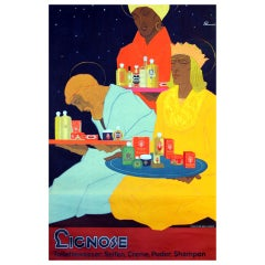 """1920s Art Deco Poster for Perfumes and Beauty Products, """"Lignose"""""""