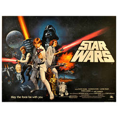 Original and rare first release movie poster for George Lucas' Star Wars saga