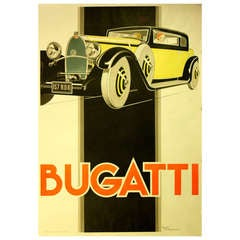 Classic Car Advertising Poster by Rene Vincent: Bugatti
