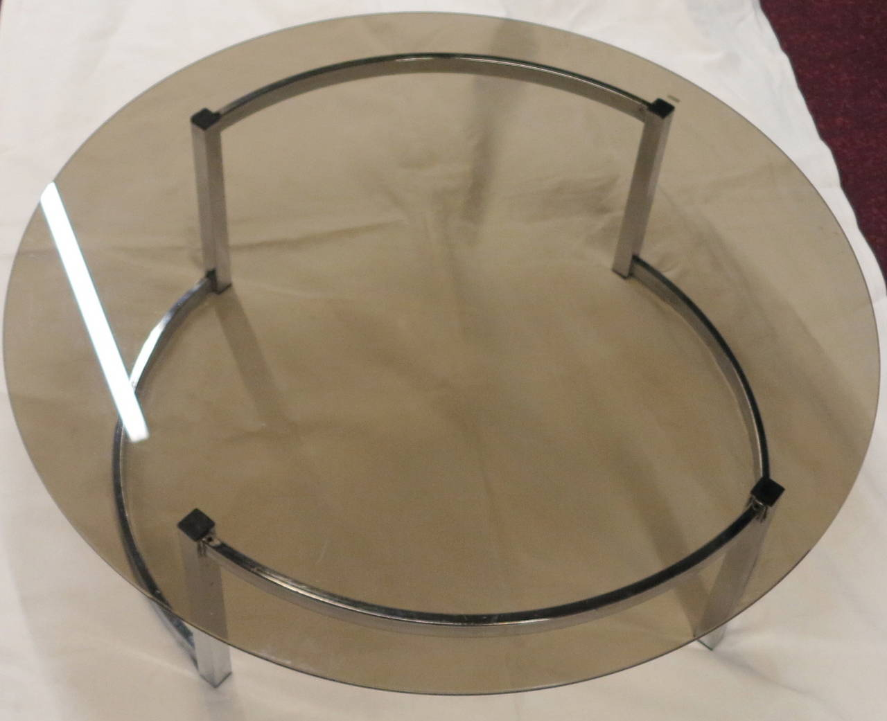 Coffee Table With A Round Smoked Glass Top For Sale At 1stdibs