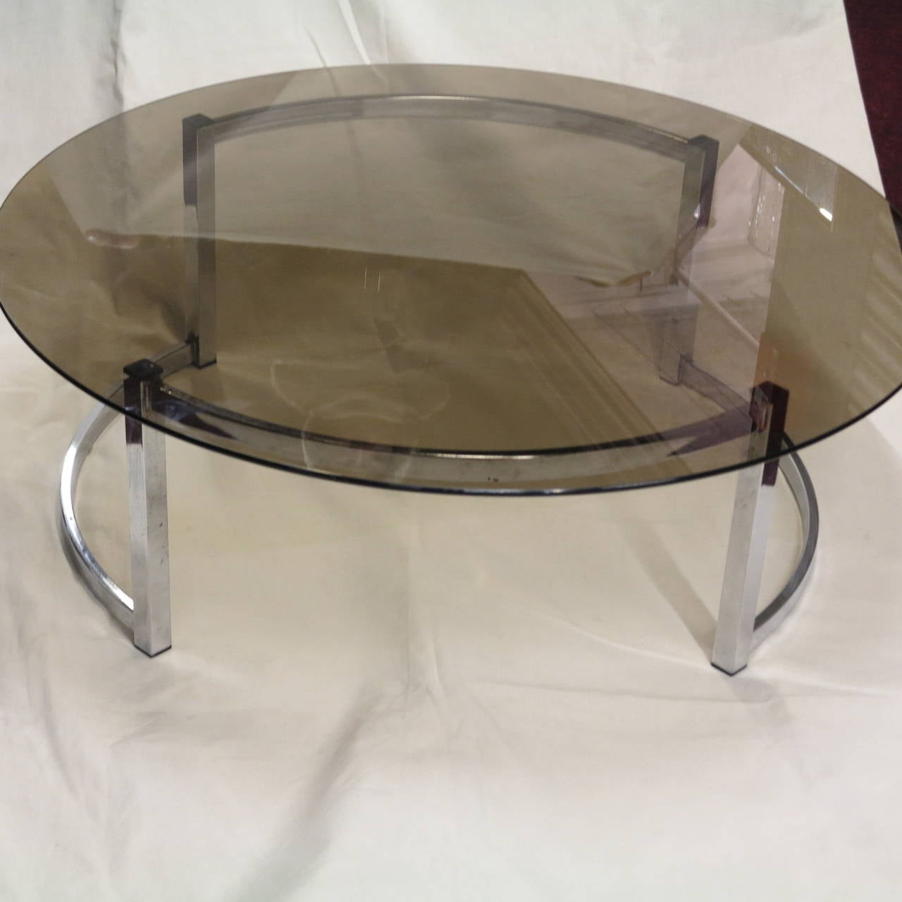 Coffee table with a round smoked glass top for sale at 1stdibs for Round glass coffee table top