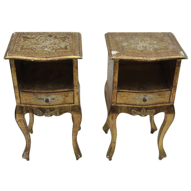 Italian Renaissance Style Gilded Wood Bed Side Tables At 1stdibs