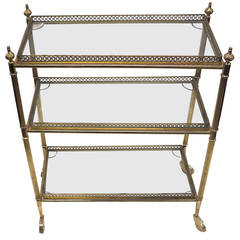 Three Trays Maison Baguès Side Table Brass & Glass with Gallery