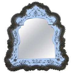 Veronese Crest Mirror with a Beveled Mirror in the Center