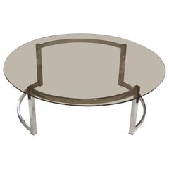 Coffee Table with a Round Smoked Glass Top