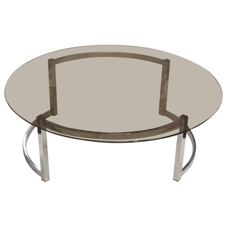 Coffee Table with a Round Smoked Glass Top For Sale