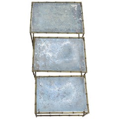 Three Nesting Tables with Oxidized Mirror Top