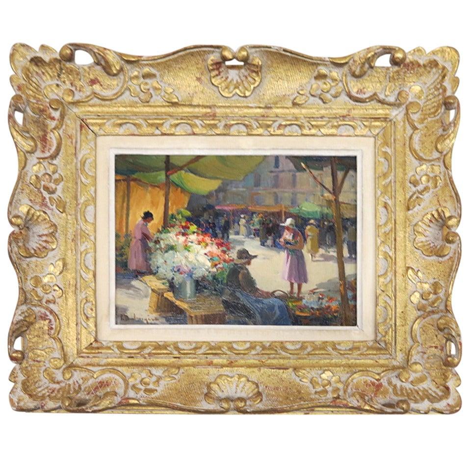 """""""Marché aux Fleurs"""" Signed Balmigère"""