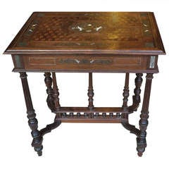 Carved and Inlaid Napoleon III Center Table