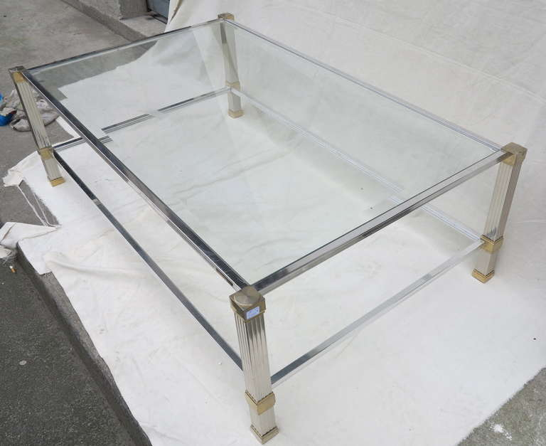 silver and gold pierre vandel coffee table at 1stdibs. Black Bedroom Furniture Sets. Home Design Ideas
