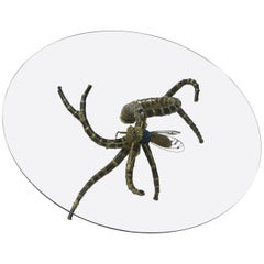 1950-1970 Table has the Bronze Cicada Style Duval-Brasseur Enlightening