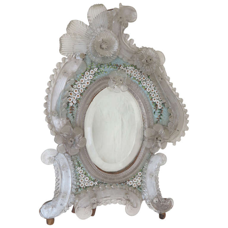 Murano Mirror Decorated With Micro Mosaic Flowers For Sale