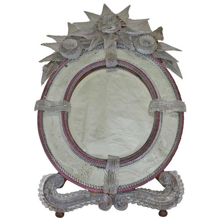 Oval and Bicolor Murano Mirror