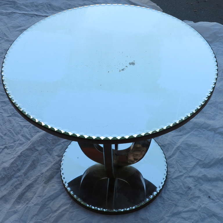 Art deco pedestal covered with mirrors, guilloche trays with pearls, circa 1950, used condition,pair is avaible