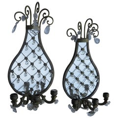 Pair of Sconces Racket-Shaped Glass with Drops