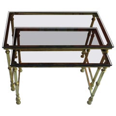 Two Golden Metal Nesting Tables