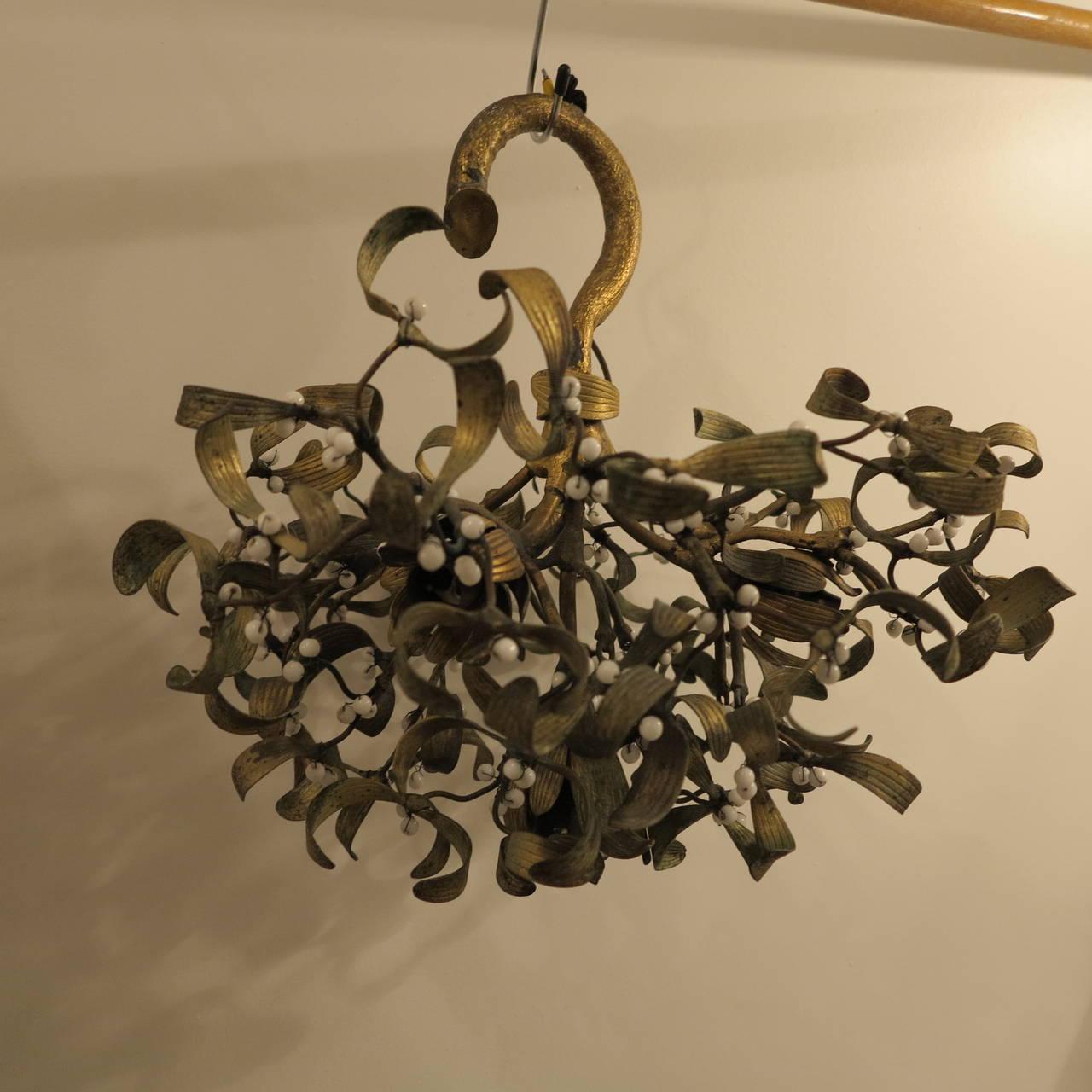 Polish Ball of Mistletoe Art Nouveau Bronze with Four Bulbs and Pearls Opaline 2