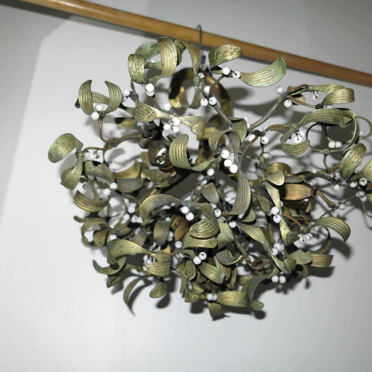 Polish Ball of Mistletoe Art Nouveau Bronze with Four Bulbs and Pearls Opaline 5