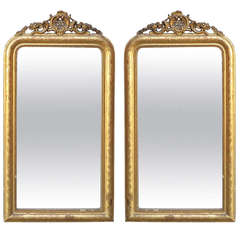 Pair of Mirrors, Louis Philippe Gilded with Gold Leaf Shell Pediment