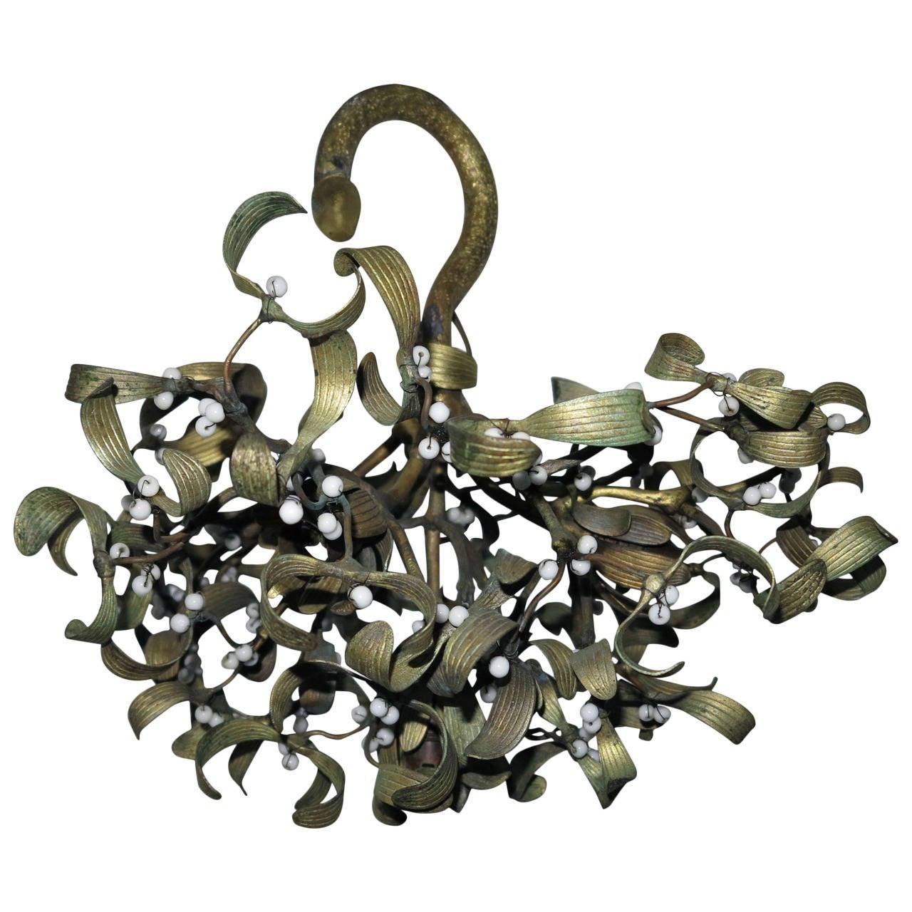 Polish Ball of Mistletoe Art Nouveau Bronze with Four Bulbs and Pearls Opaline