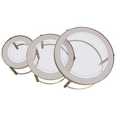 Round Nesting Tables with Mirrored Trays on Smoked Glass