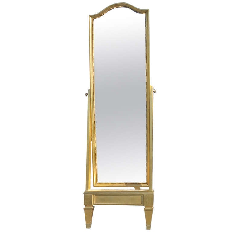 Swivel foot mirror gilded with gold leaf at 1stdibs for Gold floor standing mirror