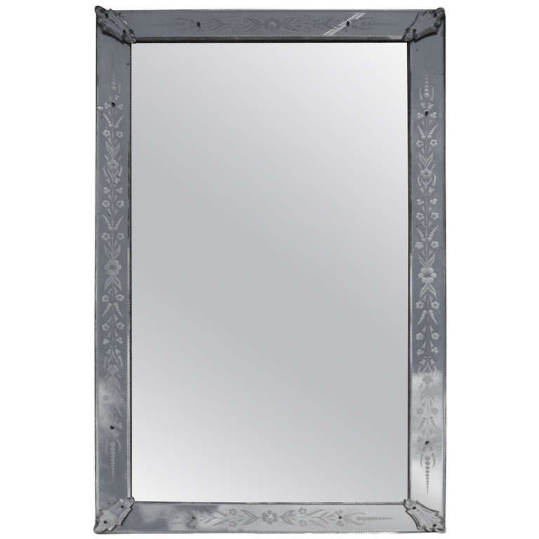 Mirror Venice Rectangle with Cabochons Leaves