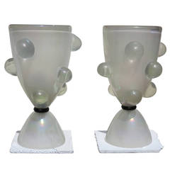 1970' Pair of glass lamps with bubbles or opalescent crystal