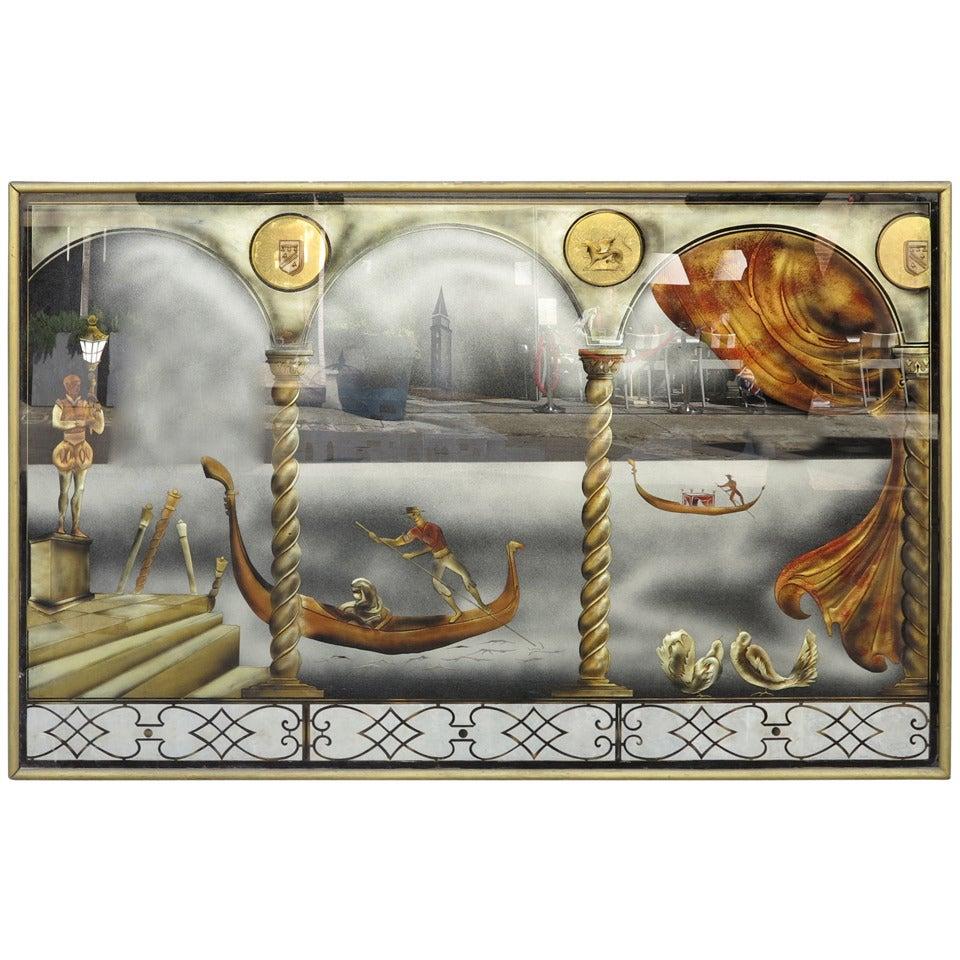 "Eglomise Glass Panel ""Gondola Ride to the Venice Carnival"""