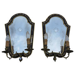 1950s Sconces Pair of Lacquered Wood Chinese Decor