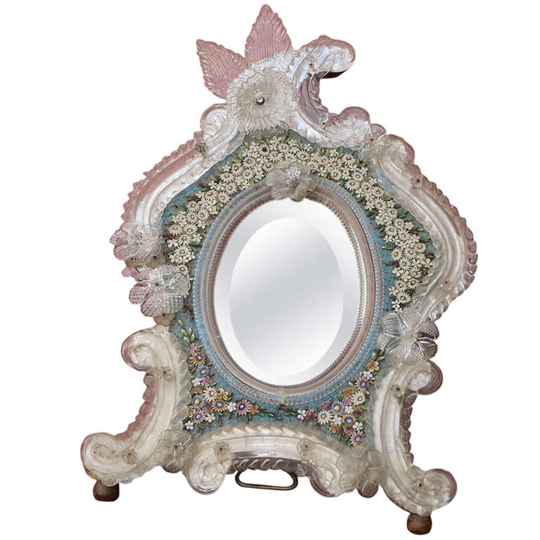 Venitian Mirror with Hard Stones, Micro Mosaic For Sale