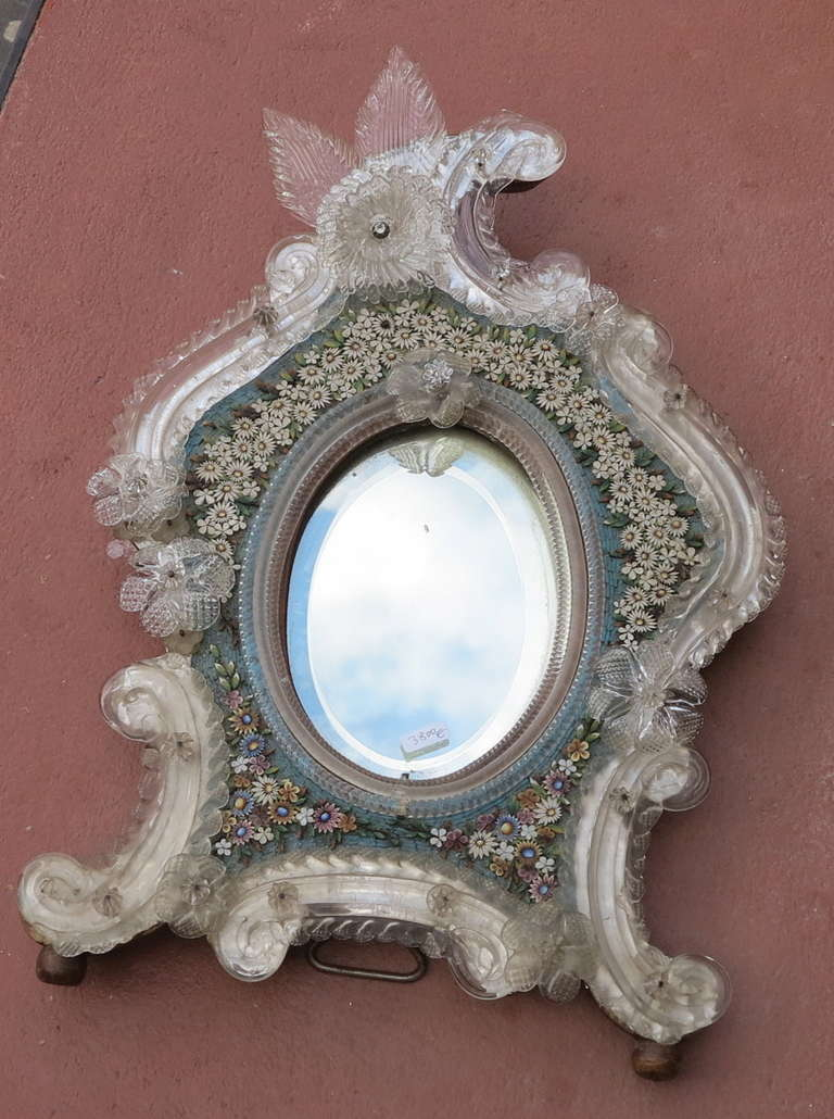 Venitian Mirror beveled circa on 1900, frame decorated with hard stones has decoration of flowers, good condition, labels original in the back Pauly&Co Venezia