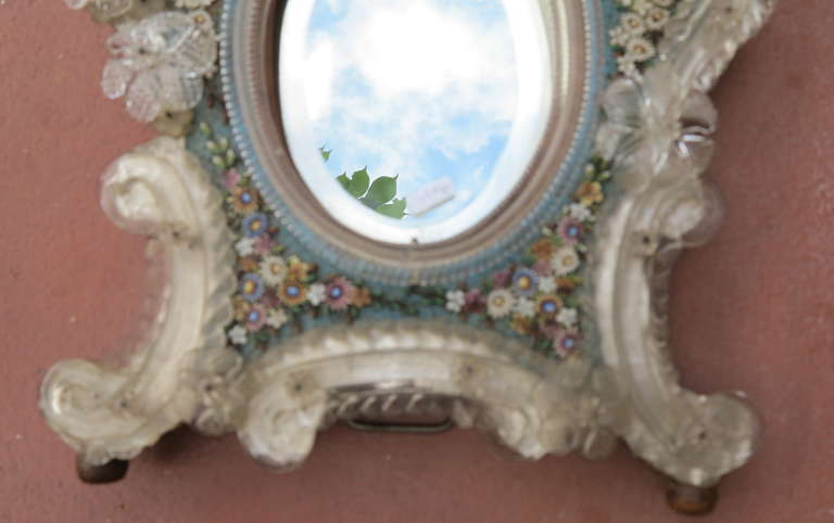 Venitian Mirror with Hard Stones, Micro Mosaic In Good Condition For Sale In Paris, FR
