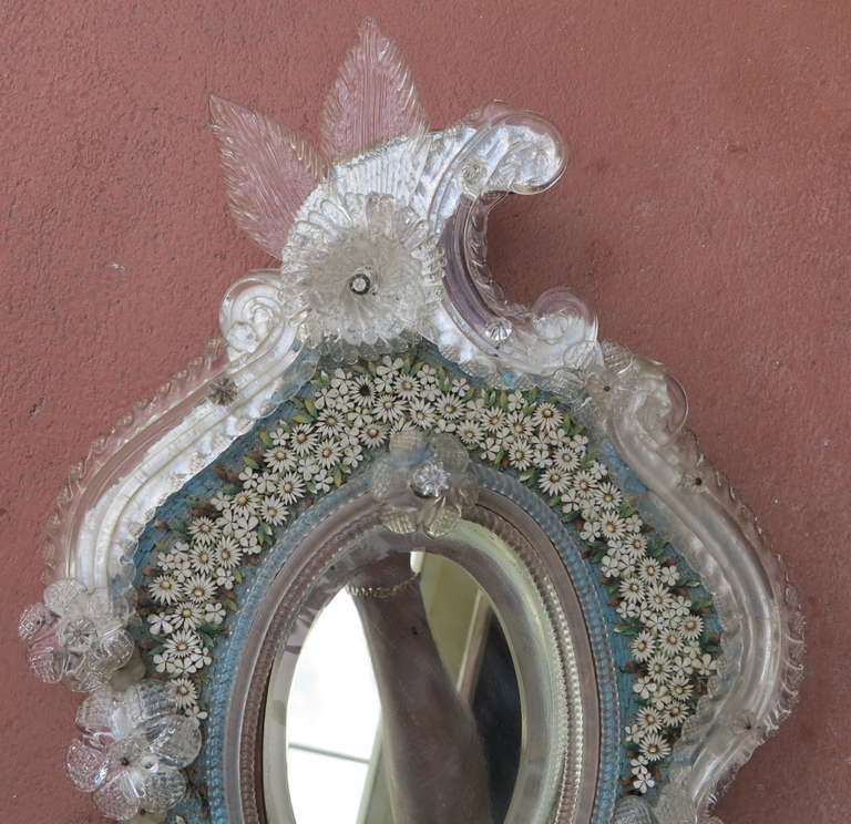 20th Century Venitian Mirror with Hard Stones, Micro Mosaic For Sale