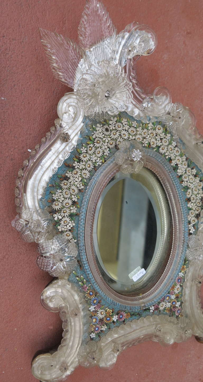 Venitian Mirror with Hard Stones, Micro Mosaic For Sale 2