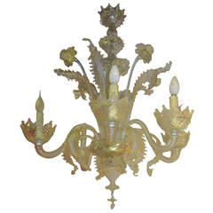 50' Chandelier with 6 lights arms with sconces pair Murano crystal and gold