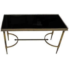 Maison Baguès Coffee Table with Gallery and Black Opaline