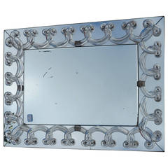 1950 Art Deco Mirror in Foliages Signed Lalique