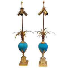 Pair of Lamps in the Charles Style with Blue Opaline
